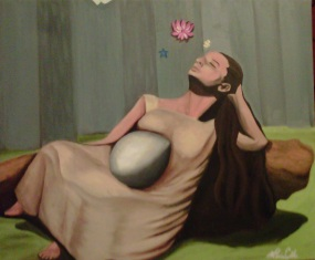 """Sueño"" 18x24"", oil on canvas, 2008. Based on photo by Lola Álvarez Bravo: El ensueño (Isabel Villaseñor), ca. 1941."