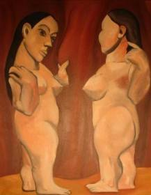 """Two Nudes"" (Appropriation of Picasso's ""Two Nudes"" 1906), 20 x 26"", oil on canvas, 2003."