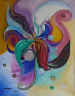 """Heart Center"" 20 x 16"", oil and acrylic on canvas, 2014."
