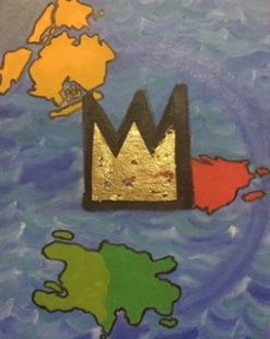 """Basquiat's Crown and His Islands"" 2015, 11x14"" oil and gold leaf on canvas."