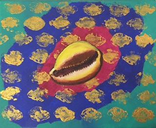 """""""Cowrie Shell"""" 2015, 8x10"""", acrylic on canvas."""