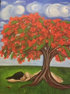 """Soñando en Flamboyán Puertorriqueño"" 2015, 18x24"", oil on canvas."