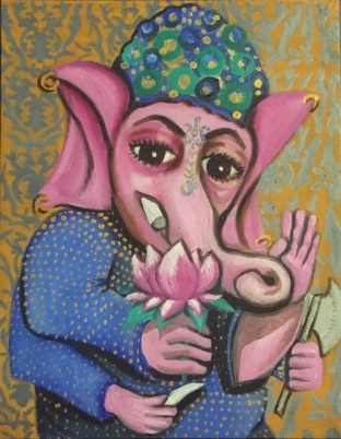 """Portrait of Ganesh"" 2016, 11 x 14"", oil and gold leaf on canvas."