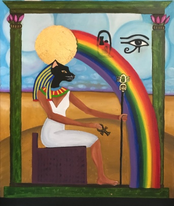 """Bastet (I'm a Rainbow Too)"" 2017, 18x24"", oil and gold leaf on canvas"